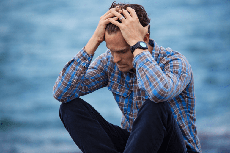 a man stressed